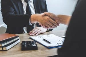 A borrower taking business loan from moneylender