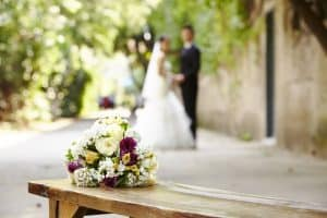 Bouquet on wooden bench